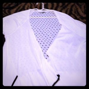 Lightweight spring white and polka dot sweater